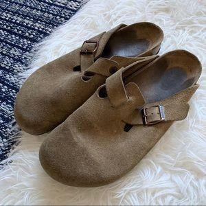 Birkenstock's Boston clog slip on shoe suede tan